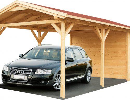 Drevený prístrešok pre auto alebo ochrana pre váš voz nielen pred nepriaznivým počasím